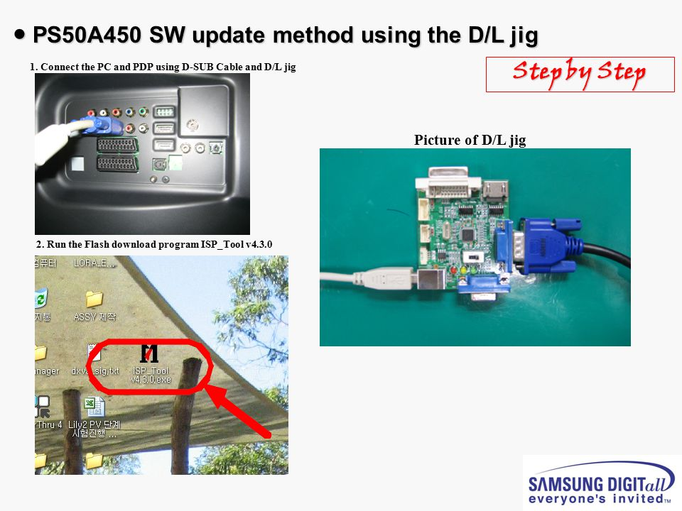 ● PS50A450 SW update method using the D/L jig