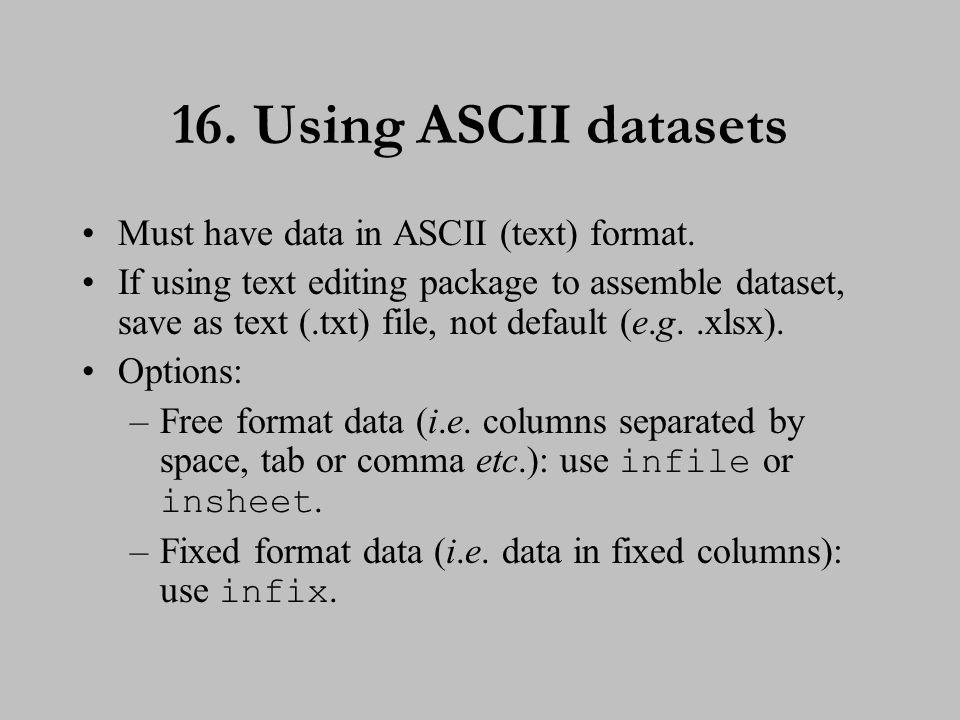 17. Entering free format data