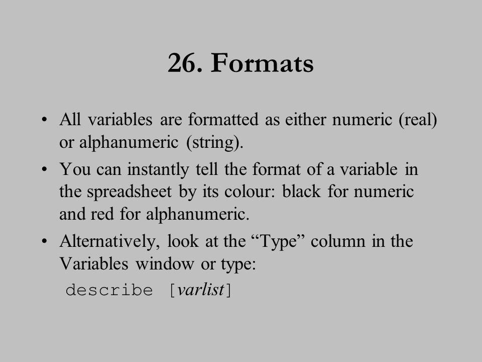 27. Formats (cont.)