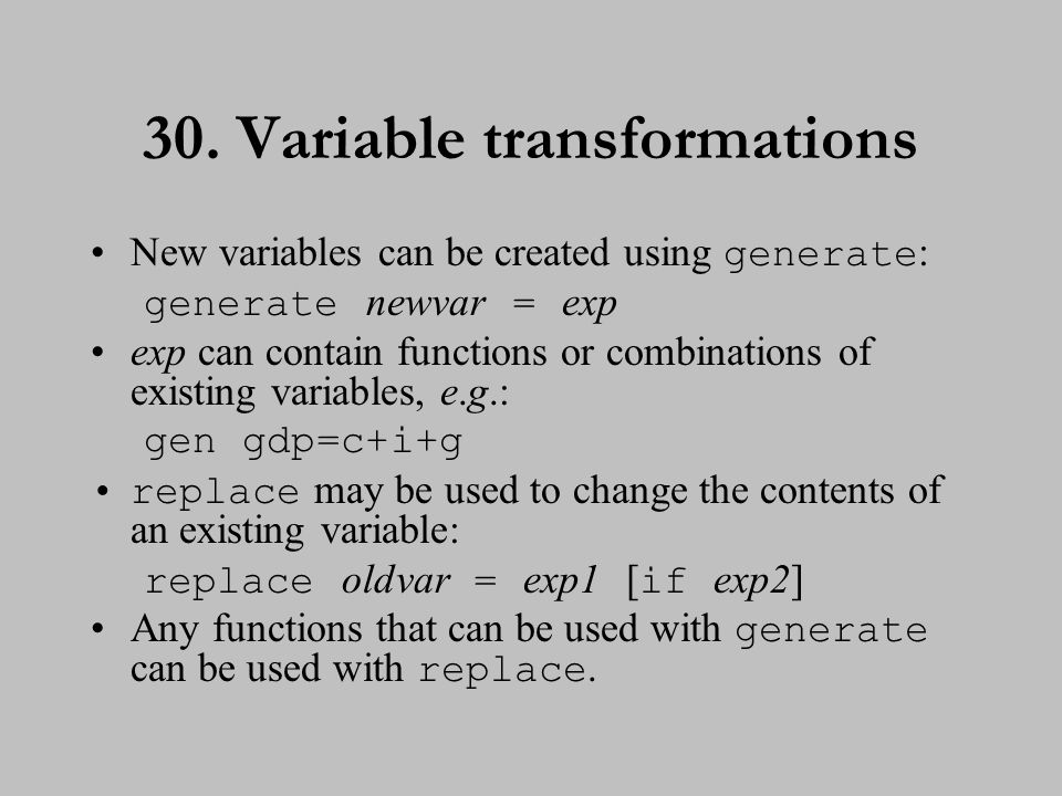31. Variable transformations (cont.)