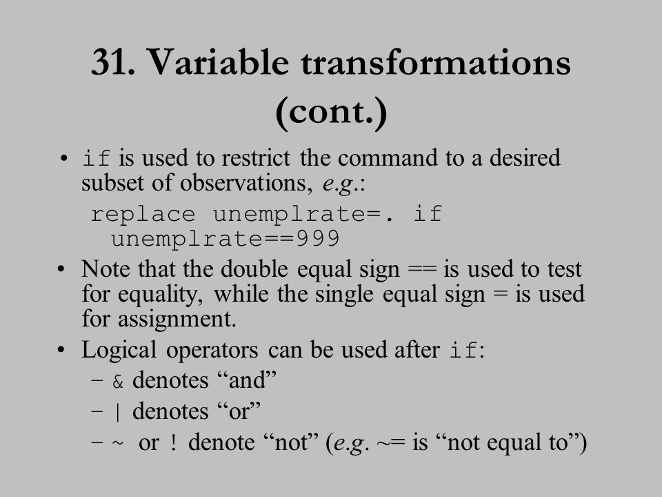 32. Variable transformations (cont.)