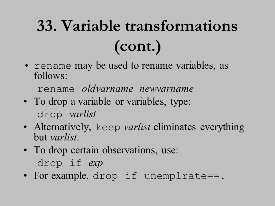 EXERCISE 4 34.Variable transformations