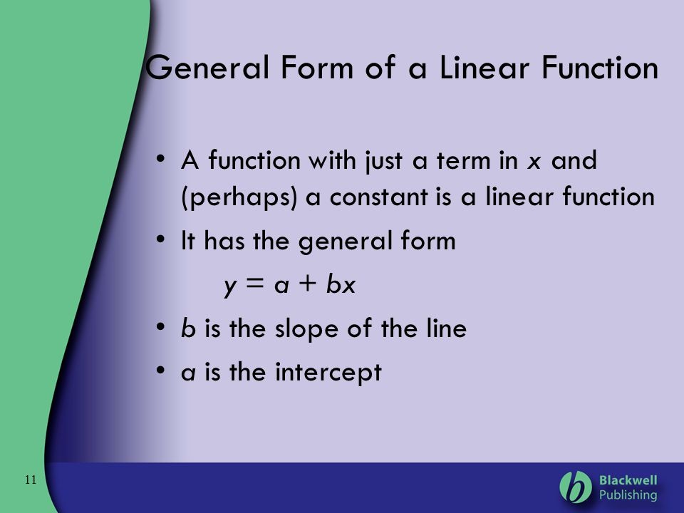 General Form of a Linear Function