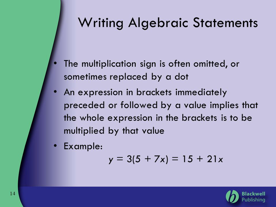 Writing Algebraic Statements