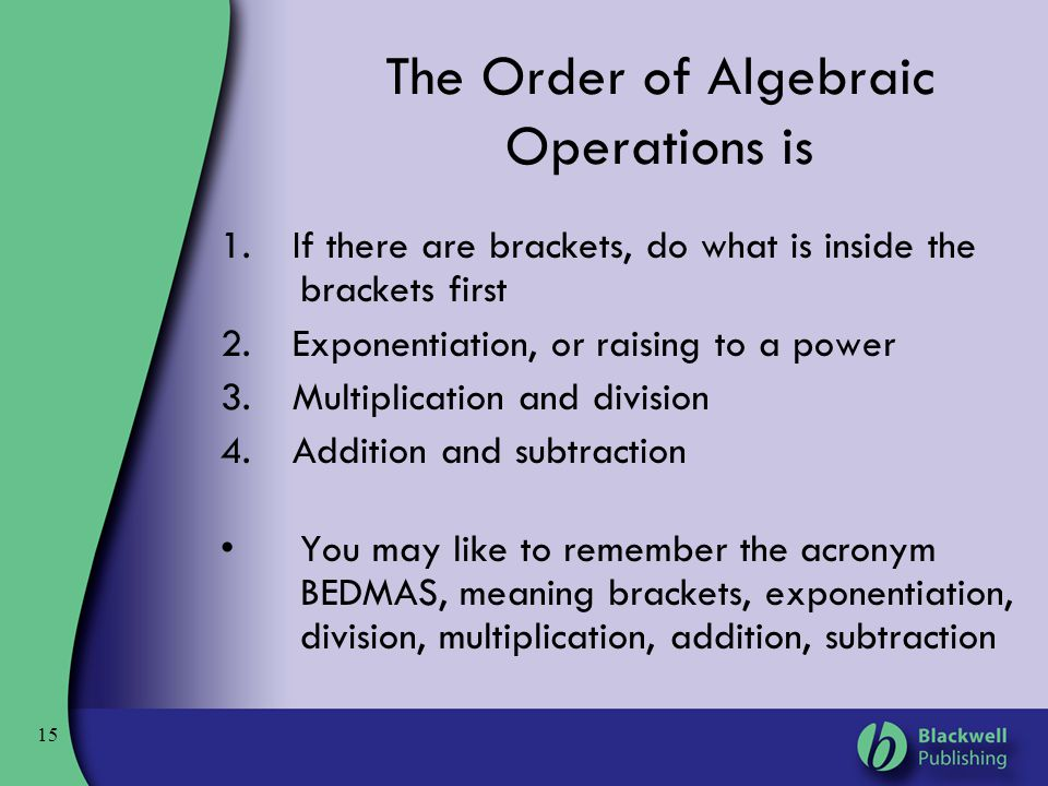 The Order of Algebraic Operations is