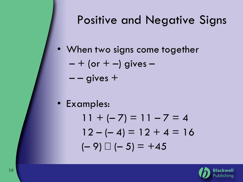Positive and Negative Signs