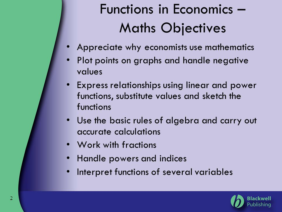 Functions in Economics – Maths Objectives