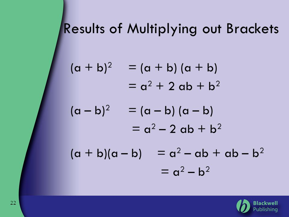 Results of Multiplying out Brackets