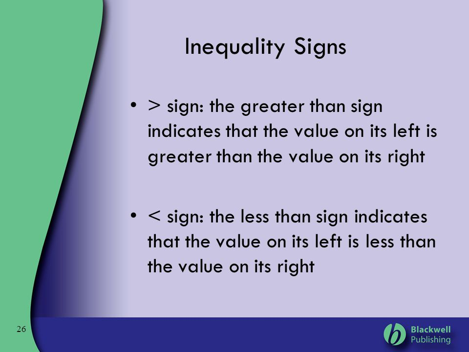 Inequality Signs > sign: the greater than sign indicates that the value on its left is greater than the value on its right.