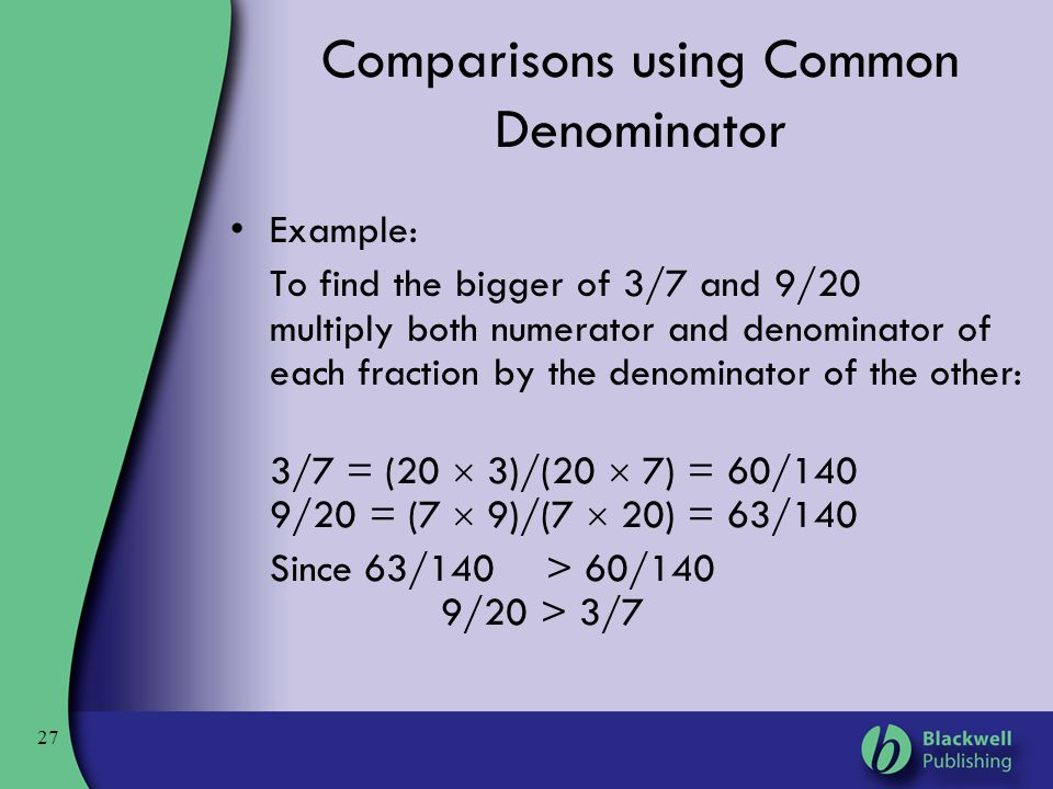 Comparisons using Common Denominator