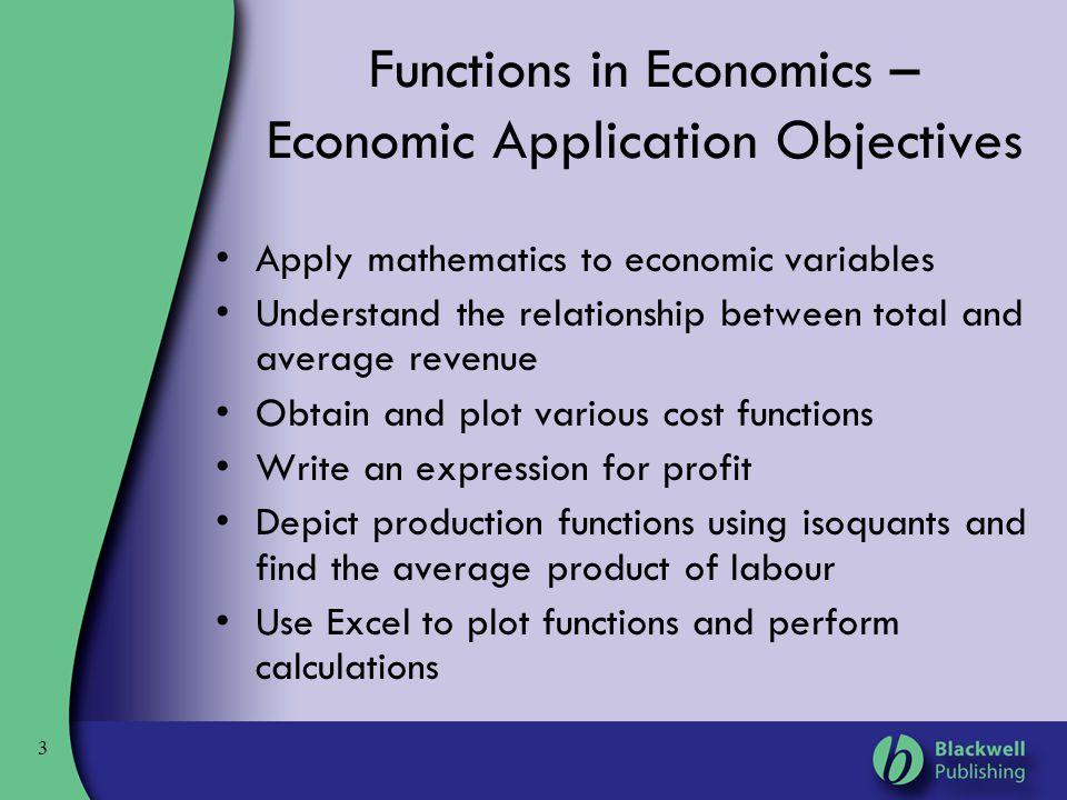Functions in Economics – Economic Application Objectives
