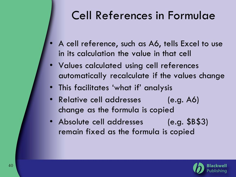 Cell References in Formulae