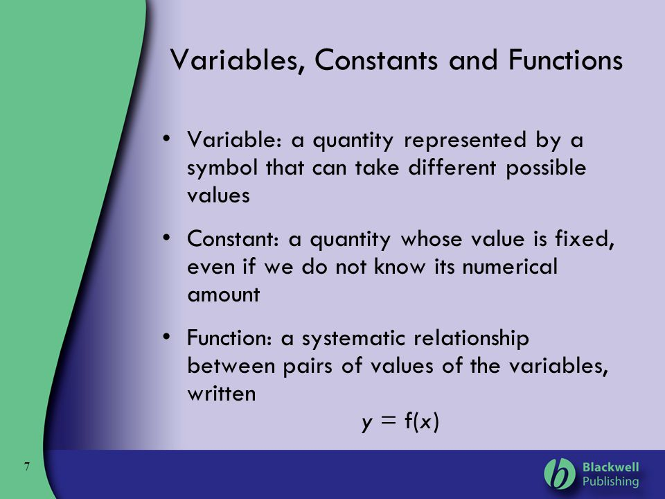 Variables, Constants and Functions
