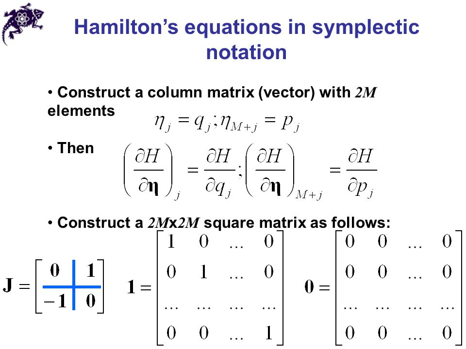 Hamilton's equations in symplectic notation