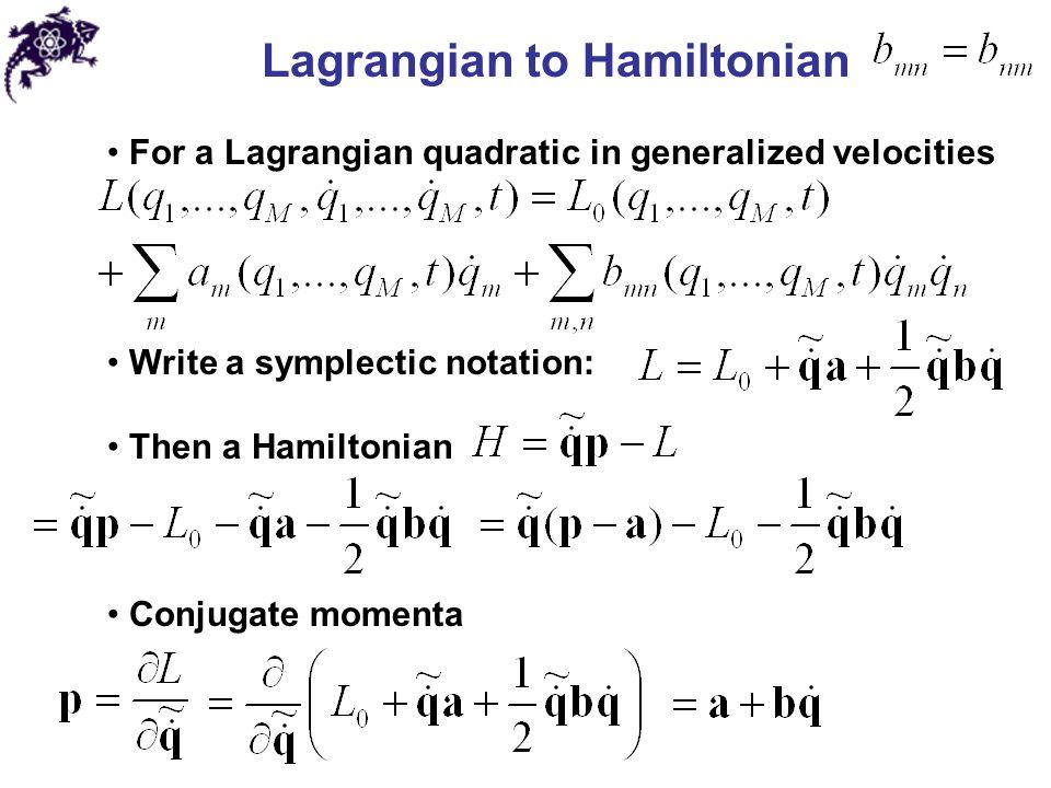 Lagrangian to Hamiltonian