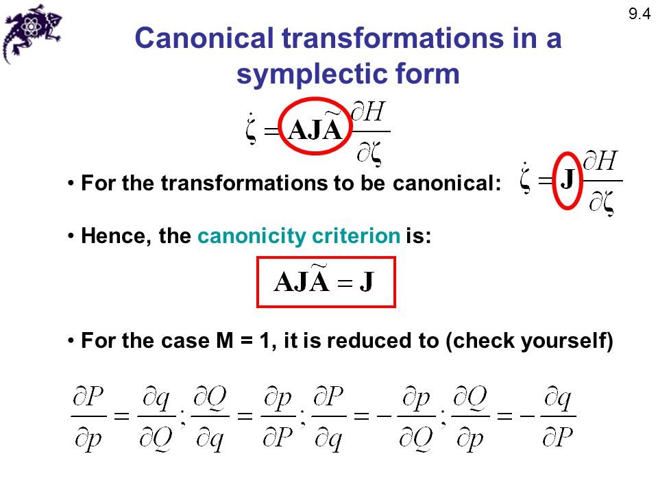 Canonical transformations in a symplectic form