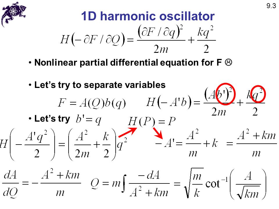 1D harmonic oscillator Nonlinear partial differential equation for F 
