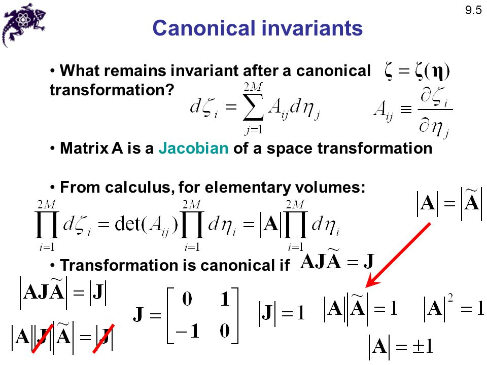9.5 Canonical invariants. What remains invariant after a canonical transformation Matrix A is a Jacobian of a space transformation.