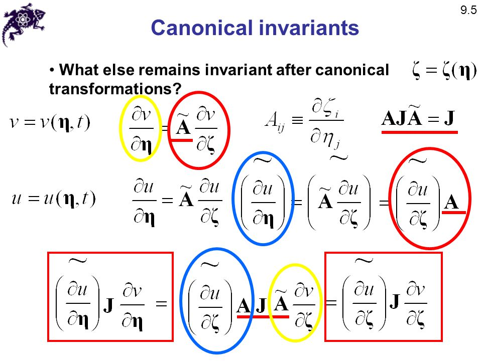 9.5 Canonical invariants What else remains invariant after canonical transformations