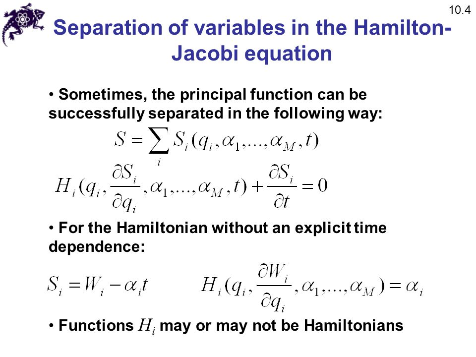 Separation of variables in the Hamilton-Jacobi equation