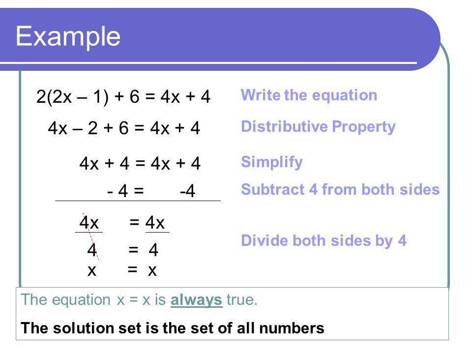 Example 2(2x – 1) + 6 = 4x + 4 4x – 2 + 6 = 4x + 4 4x + 4 = 4x + 4