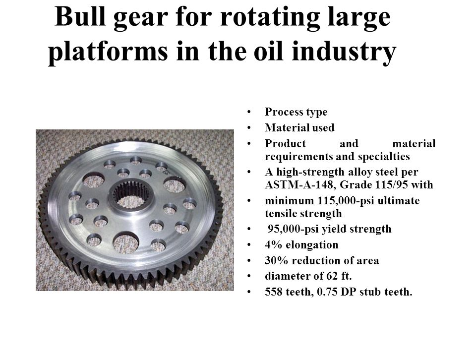 Bull gear for rotating large platforms in the oil industry