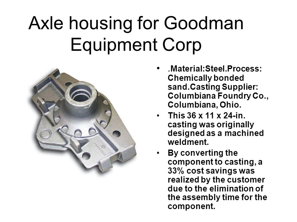 Axle housing for Goodman Equipment Corp