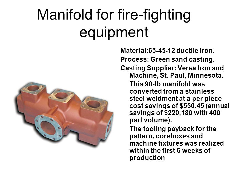 Manifold for fire-fighting equipment