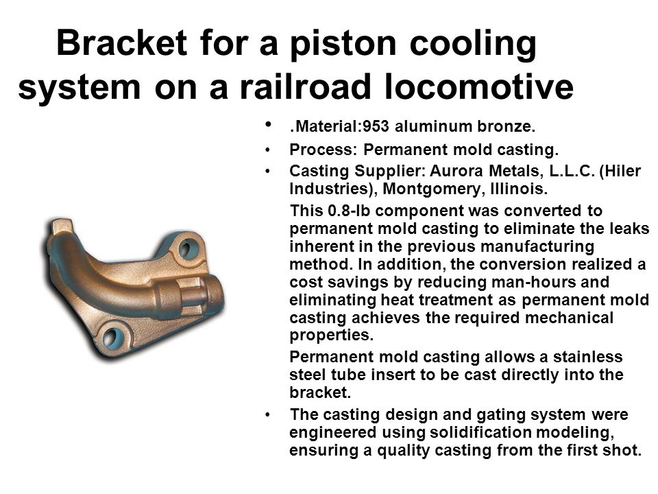 Bracket for a piston cooling system on a railroad locomotive