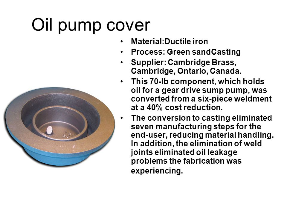 Oil pump cover Material:Ductile iron Process: Green sandCasting