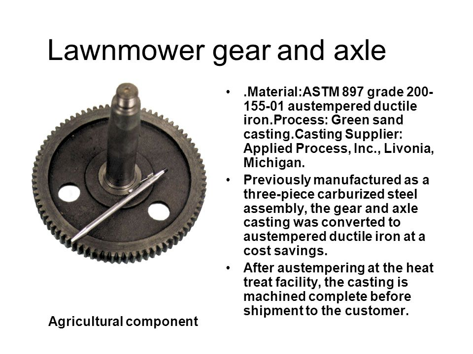 Lawnmower gear and axle
