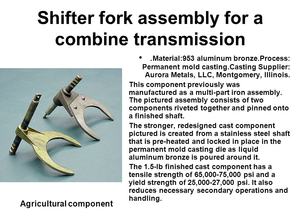 Shifter fork assembly for a combine transmission