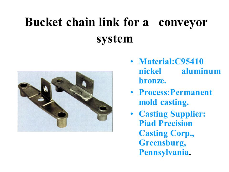 Bucket chain link for a conveyor system