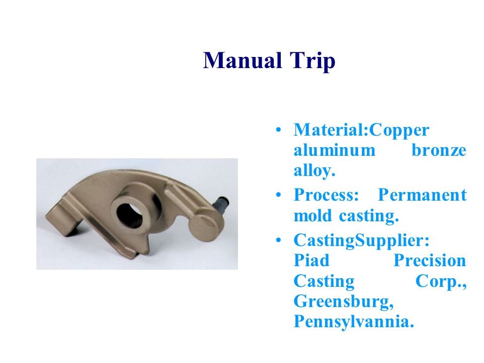 Manual Trip Material:Copper aluminum bronze alloy.