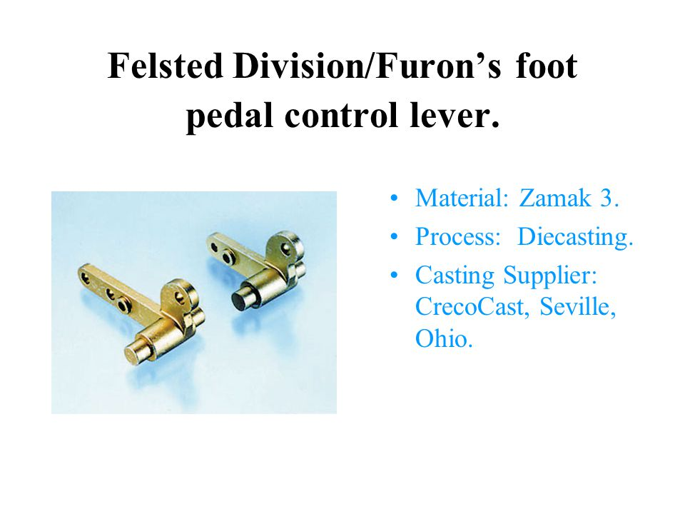 Felsted Division/Furon's foot pedal control lever.