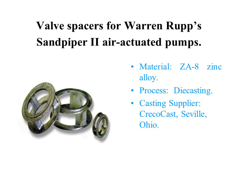 Valve spacers for Warren Rupp's Sandpiper II air-actuated pumps.