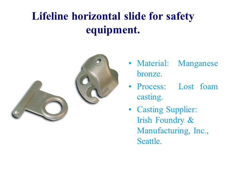 Lifeline horizontal slide for safety equipment.