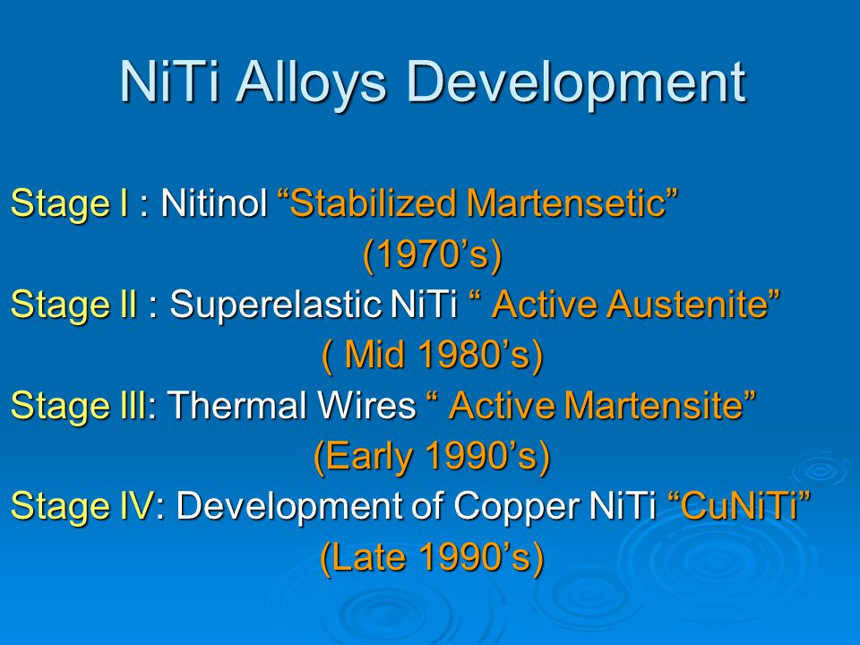 NiTi Alloys Development
