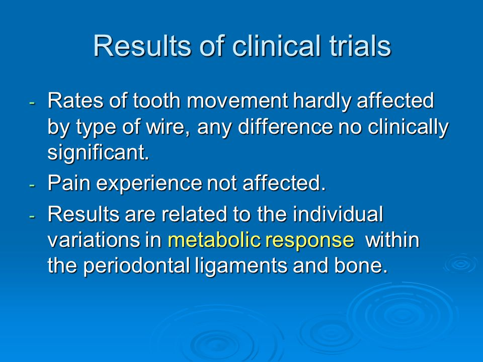 Results of clinical trials