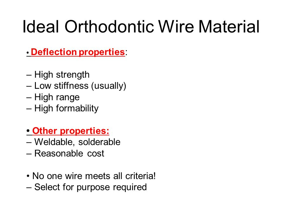 Ideal Orthodontic Wire Material
