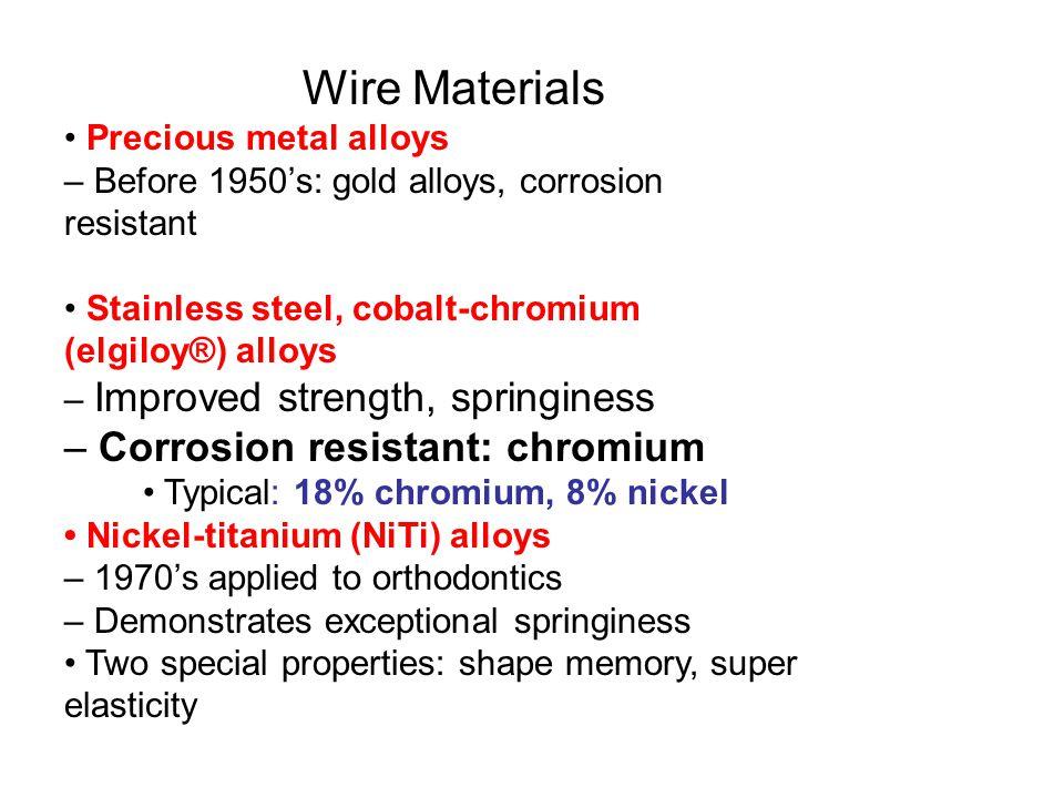 – Corrosion resistant: chromium