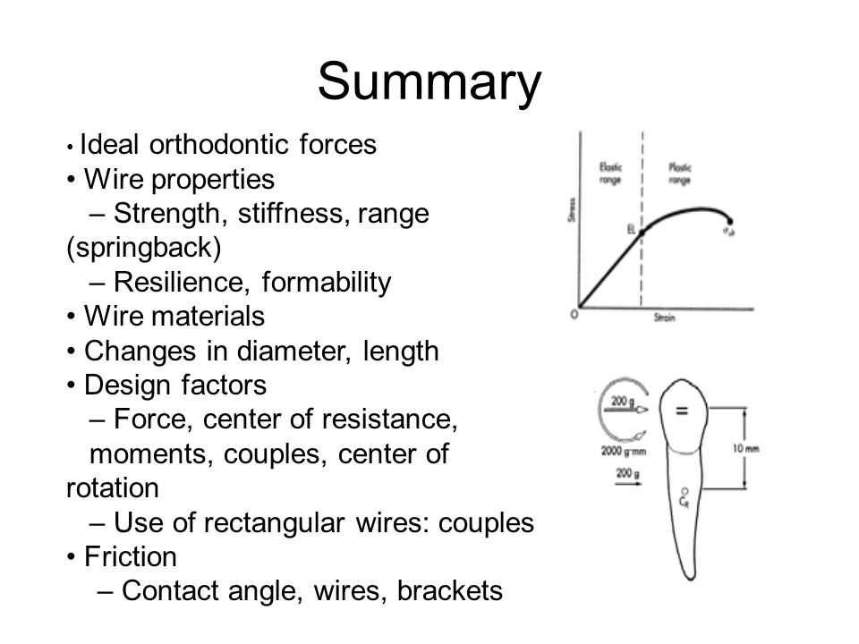 Summary • Wire properties – Strength, stiffness, range (springback)