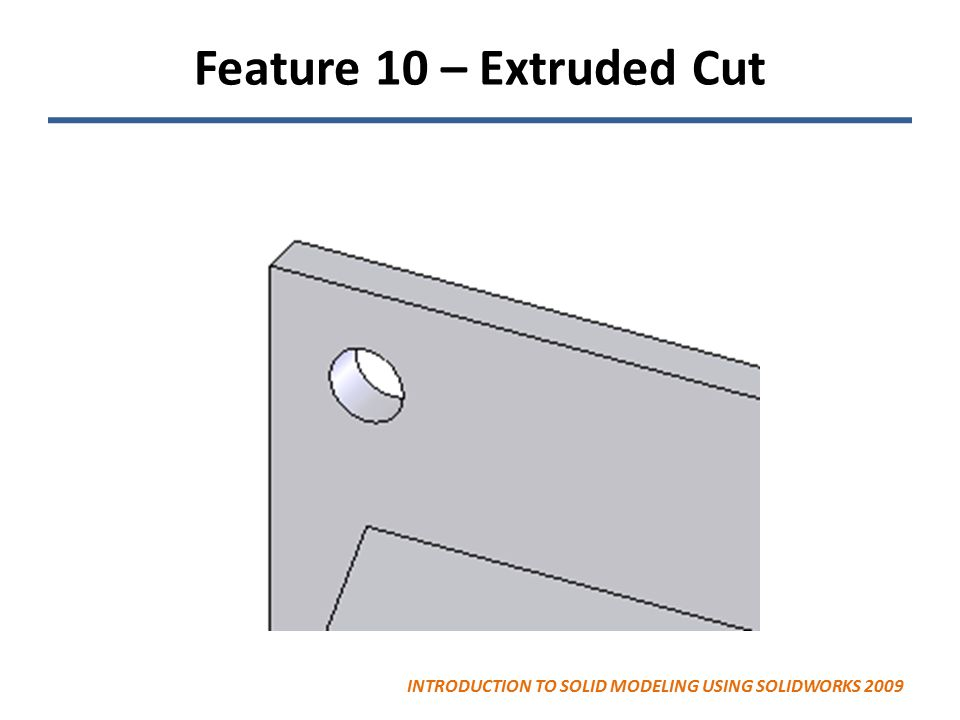 Feature 10 – Extruded Cut INTRODUCTION TO SOLID MODELING USING SOLIDWORKS 2009