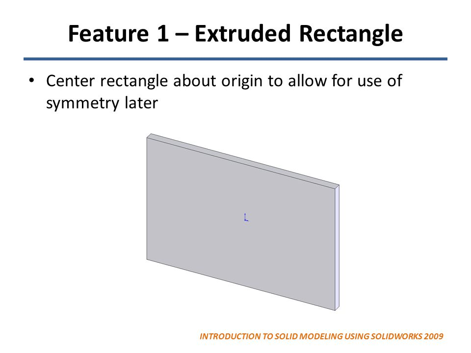 Feature 1 – Extruded Rectangle