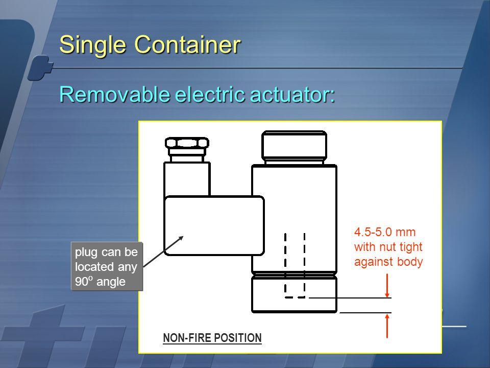 Single Container Removable electric actuator: 4.5-5.0 mm