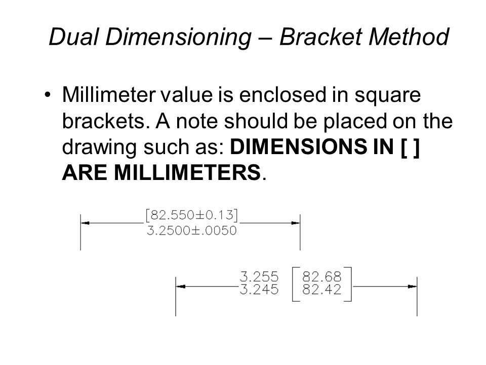 Dual Dimensioning – Bracket Method