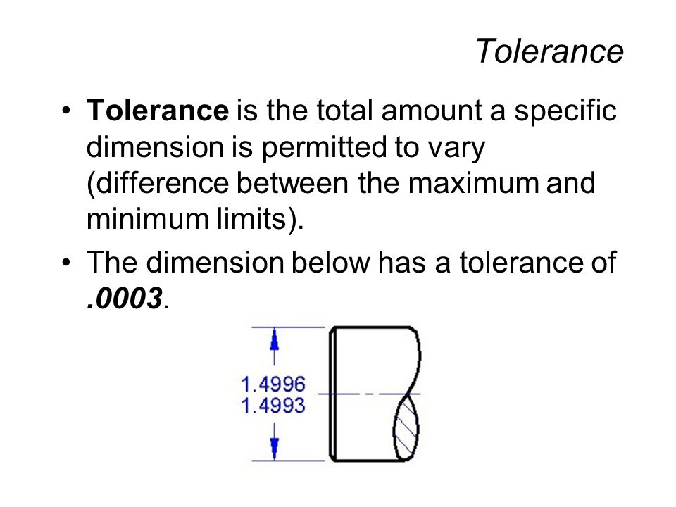 Tolerance Tolerance is the total amount a specific dimension is permitted to vary (difference between the maximum and minimum limits).