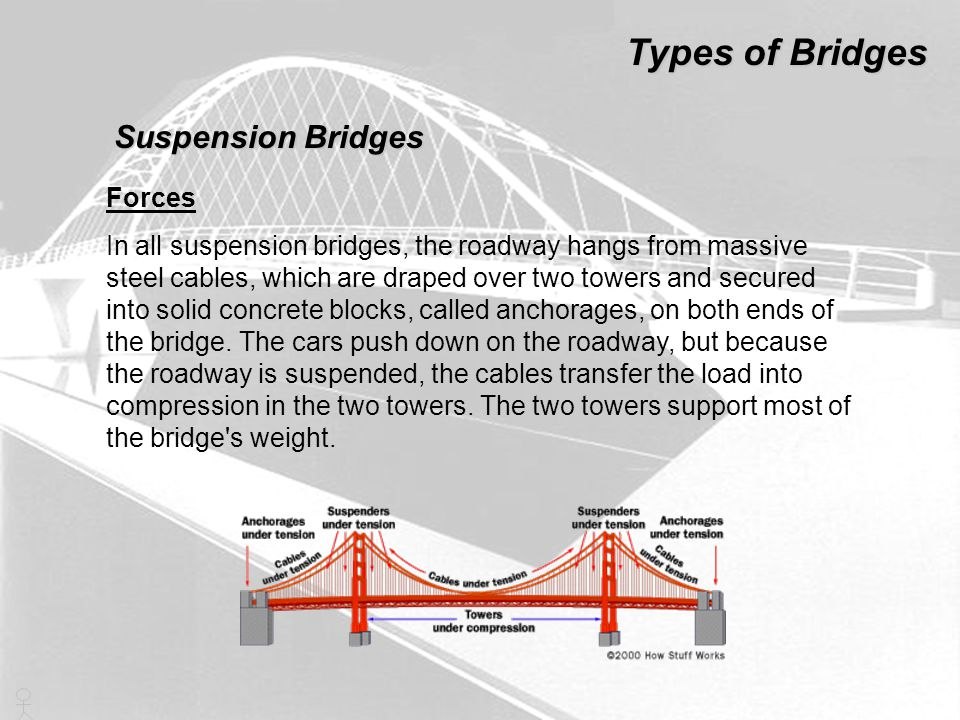 Types of Bridges Suspension Bridges Forces