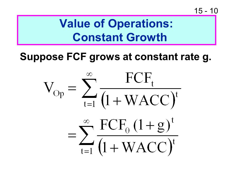Value of Operations: Constant Growth
