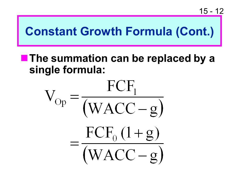 Constant Growth Formula (Cont.)